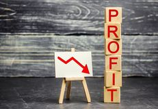 A red arrow to down and the inscription `profit`. Unsuccessful business and poverty. Profit decline. Loss of investment. Low wages. Economic crisis. The fall stock images