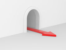 Red arrow in tunnel Stock Photo