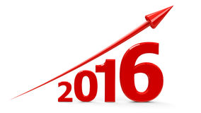 Red arrow up with 2016. Red arrow up represents the growth in 2016 year, three-dimensional rendering Stock Image