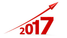 Red arrow up with 2017. Red arrow up represents the growth in 2017 year, three-dimensional rendering, 3D illustration Royalty Free Stock Photos