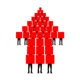 Red arrow up shape composed of boards holding by men Royalty Free Stock Photography