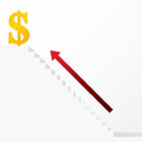 Red arrow up on white stair to dollar business concept Royalty Free Stock Photography
