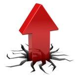 Red arrow upward crack Stock Photo