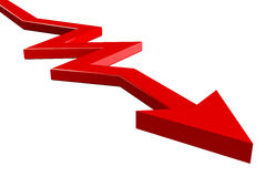 Red arrow on white background Stock Photo