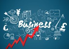 Red arrow with white business doodles against blue background Stock Photography