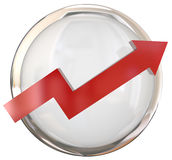 Red Arrow White Shiny Button  Royalty Free Stock Photography