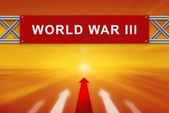 Red arrow and world war III on red road sign stock photo
