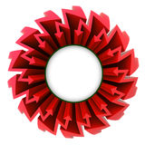 Red arrow zigzag circle with blank center Royalty Free Stock Photo