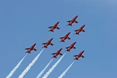 Red arrows. A formation shot of the red arrows Stock Photos
