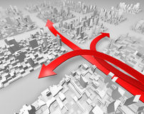 Red arrows. Three red arrows in a abstract town showing several directions stock illustration
