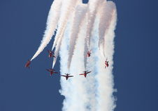 Red Arrows. A shot of the Red Arrows on the RAF performing a flypast royalty free stock photography