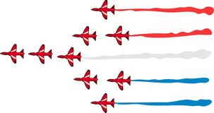 Red Arrows. In formation Stock Photo
