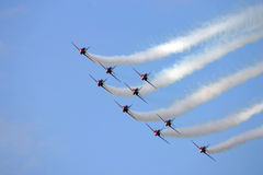 Red arrows. Hawk trainer jets flying in close formation Stock Photography