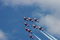Red arrows. Hawk trainer jets flying in close formation Royalty Free Stock Photo