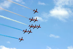 Red arrows. Hawk trainer jets flying in close formation Stock Photos