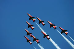 Red arrows. Hawk trainer jets flying in close formation Stock Images