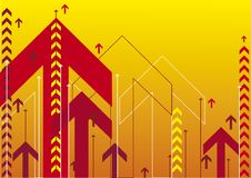 Red arrows. On yellow background design Royalty Free Stock Photography