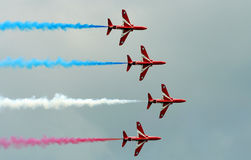 Red arrows. Aerobatic flying display team Performing at Eastbourne airshow Sussex Royalty Free Stock Images