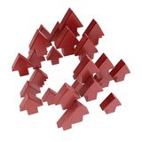 Red Arrows. Several red 3d arrows, over white, isolated Royalty Free Stock Photography