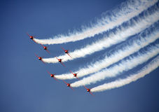 The Red Arrows. The Red Arrow display team over Beaumaris Anglesey Wales Stock Photos