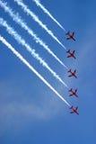 Red arrows aeorobatic display team. Red arrows aeorobatic display at raf fairford Royalty Free Stock Photos