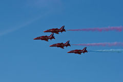 Red Arrows Aeroplane Display Team Fairford Air Show RAF Airport Royalty Free Stock Photo