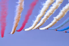 Red Arrows Air Show. The RAF Red Arrows aerobatic team flying in formation Royalty Free Stock Photo