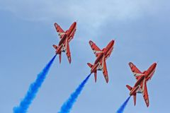 Red Arrows Air Show. Royal Air Force's Red Arrows are doing an Air Show over Athens, Greece Stock Image