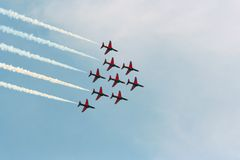 Red Arrows Air Show. Royal Air Force's Red Arrows doing aerobatics over Athens, Greece Stock Photo