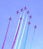 Red Arrows Air Show. Royal Air Force's Red Arrows doing aerobatics over Athens, Greece Royalty Free Stock Photography