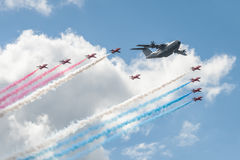 Red Arrows and Airbus A400M Royalty Free Stock Photos
