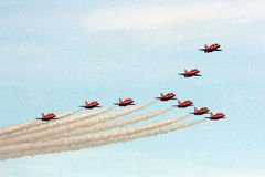 Red Arrows in classic formation stock image