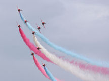 The Red Arrows in Concord formation Royalty Free Stock Photography