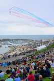 Red Arrows. Display in Lyme Regis Royalty Free Stock Images