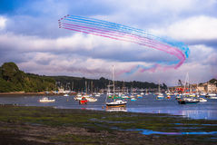 Red Arrows Display over Falmouth in Cornwall Stock Photo