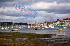 Red Arrows Display over Falmouth in Cornwall Stock Images