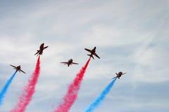 Red Arrows display. RAF Fairford BAE hawk fast jet Royal Air Force Aerobatic Team Stock Photos