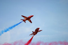 Red Arrows display. RAF Fairford BAE hawk fast jet Royal Air Force Aerobatic Team Royalty Free Stock Images