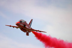 Red Arrows display. RAF Fairford BAE hawk fast jet Royal Air Force Aerobatic Team Royalty Free Stock Photography