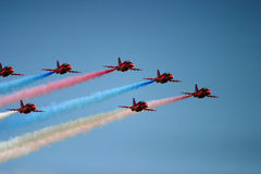 Red Arrows display. RAF Fairford BAE hawk fast jet Royal Air Force Aerobatic Team Stock Images