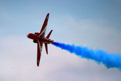 Red Arrows display RAF. Fairford BAE hawk fast jet Royal Air Force Aerobatic Team Royalty Free Stock Photography