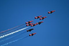 Red Arrows display team 04. Red Arrows display team in formation, Swansea, South Wales royalty free stock images