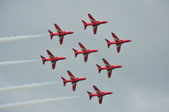 Red Arrows Display Team. Flying as 8 instead of 9 as a mark of respect for the loss of Flt Lt Jon Egging royalty free stock photography