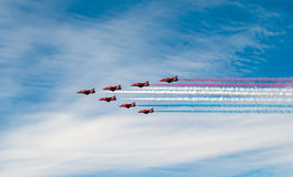 Red Arrows Display Team. Red Arrows now only in seven Royalty Free Stock Image