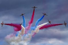 Red Arrows Display Team. British Royal Air Force Red Arrows Display Team stock photography