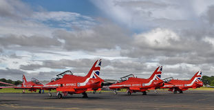 Red Arrows Display Team ready to go Stock Photo