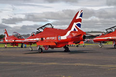 Red Arrows Display Team ready to go. Red Arrows Display Team preparing for flight Royalty Free Stock Photo