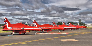 Red Arrows Display Team ready to go. Red Arrows Display Team preparing for flight Stock Photography