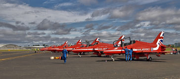 Red Arrows Display Team ready to go. Red Arrows Display Team preparing for flight Royalty Free Stock Photography