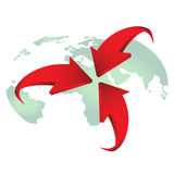Red arrows on earth vector for design. Royalty Free Stock Image